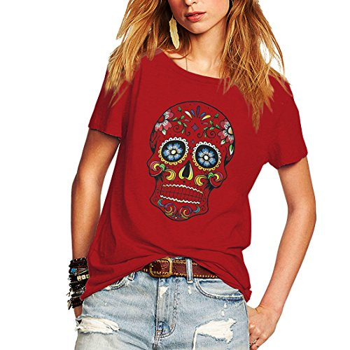 Day Of The Dead Clothes (Weigou Woman T Shirt Floral Skull Contrast Color Junior Tops Tee Punk Street Style Lady Shirt (XXL,)