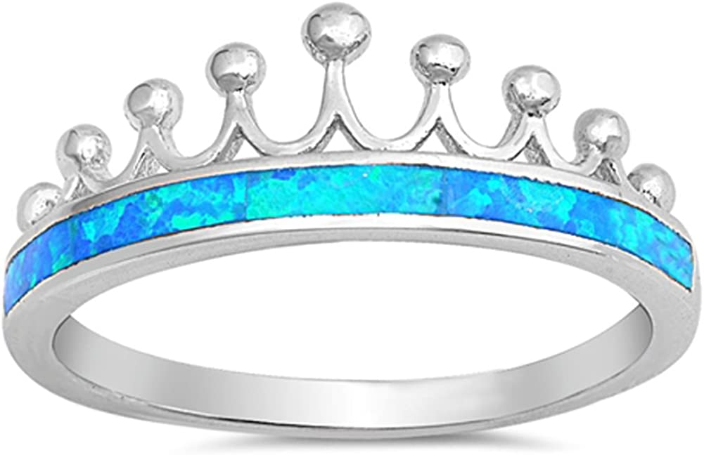 CHOOSE YOUR COLOR Sterling Silver Crown Tiara Ring
