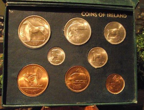 Irish Coin Set - Ireland 1966 Brilliant Uncirculated Gem. Complete set of 8 With original green box