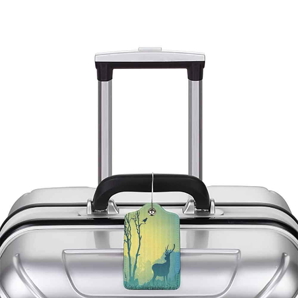 Multicolor luggage tag Antlers Decor Collection Wild Animal Deerfield Meadow Grassland Tree Morning Time Park Landscape Image Patten Hanging on the suitcase Olive White W2.7 x L4.6