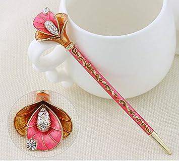 Lotus Pattern Women Lady Handmade Metal Stick Golden Hair Chopsticks Hairpin