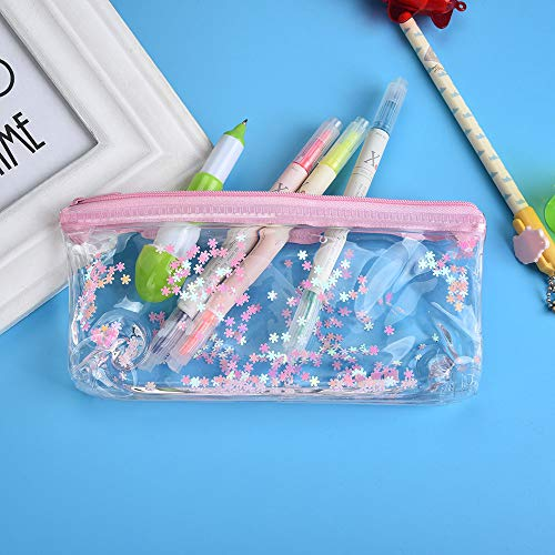 Gotian Creative Pencil Case Pouch Transparent School Students Stationery Storage Bag (D) -