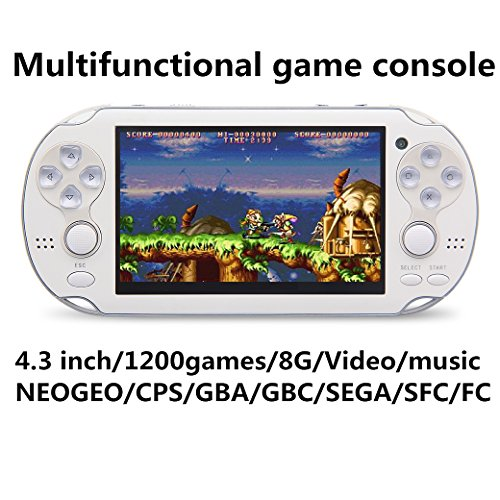 JXD new 4.3 inch 8GB build in 1200+ games for Arcade NEOGEO/CPS/FC/SFC/GBA/GBC/GB/SMC/SMD/SEGA Handheld Game Console Video Game Console game Player MP3 MP4 MP5 (Mp3 Mp4 Video Game)