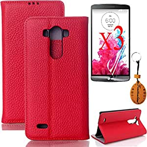 Traitonline 5IN1 Red Protective Cover For lg g3 PU Leather Case Shell + 3*Screen Protector + Keychain