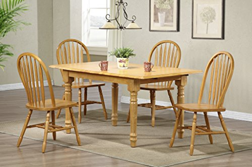 Oak Chair Arrowback (Sunset Trading 5 Piece Butterfly Dining Set with Arrowback Chairs, Light Oak)