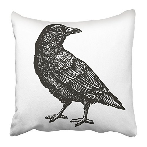 Emvency Throw Pillow Cover Square 18x18 Inches Death Hand Drawn Black Crow Raven Bird Sketch Vintage Tattoo Ancient Animal Artistic Aviary Beak Polyester Decor Hidden Zipper Print On Pillowcases
