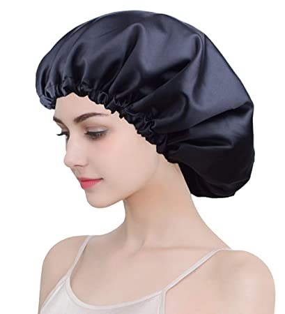 8aa01b1f Large Sleep Bonnet for Braids, Black Satin Bonnet Cap for Sleeping, Double  Layer,