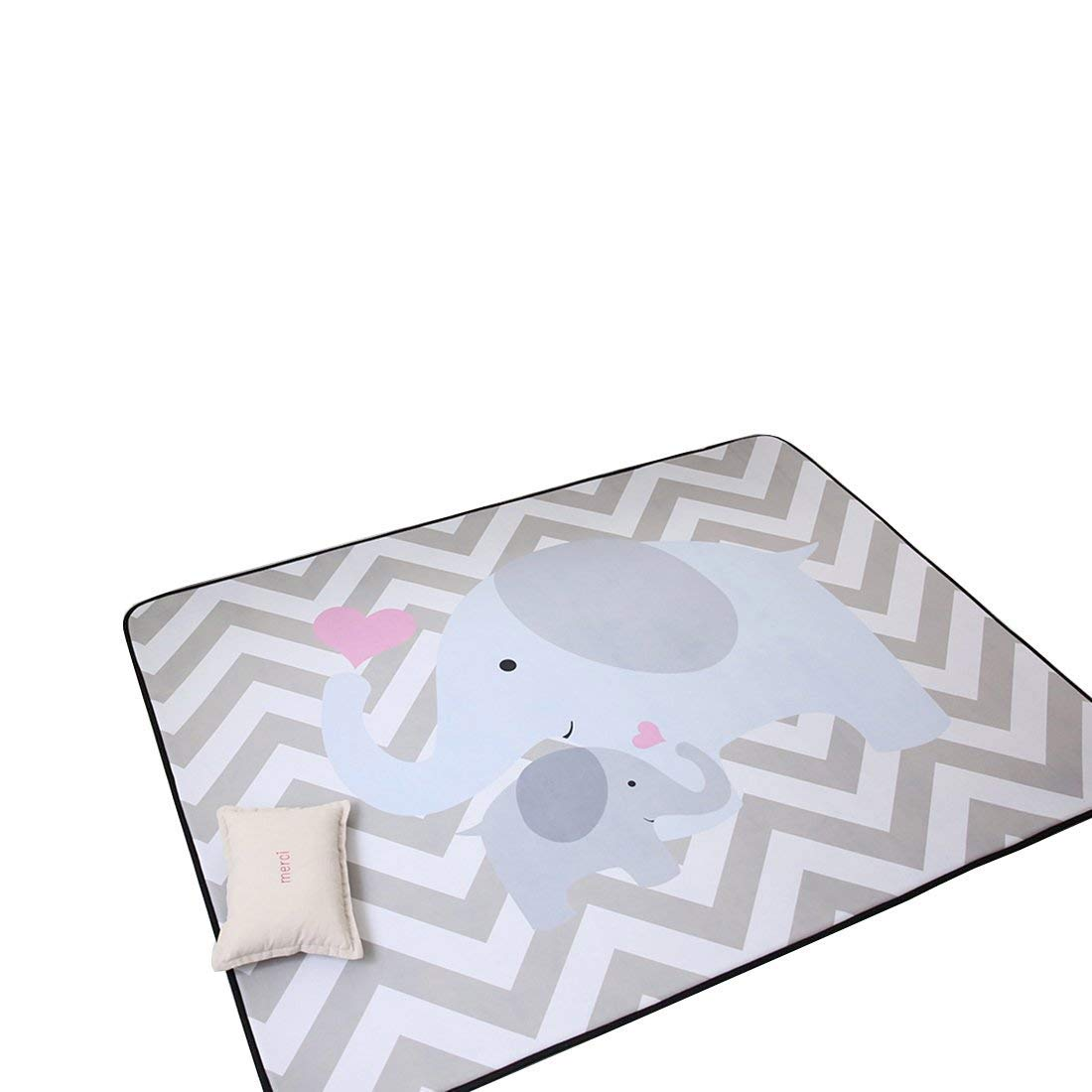 IHEARTYOU Elephant Mommy and Baby Thicken Extra Lagre Foam Kids Play Mat Baby Rug Soft Non-Slip Baby Crawling Mat Playmats Kids Rug Baby Gym Mat, 0.8'' Thick