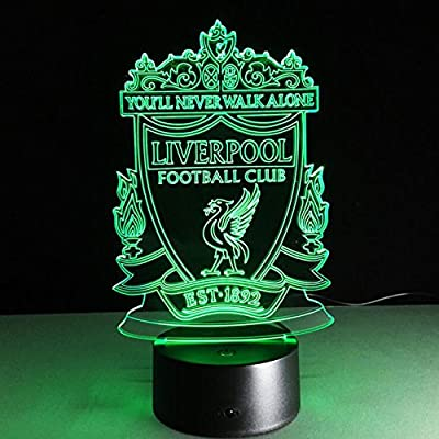 SUPERNIUDB Lampara Liverpool Futbol Football Club 3D Night Light 7 Color Change LED Table Lamp Xmas Toy Gift
