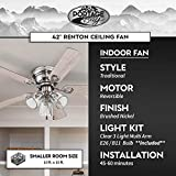 Portage Bay 51437 Renton Ceiling Fan, 42, Nickel