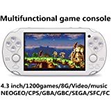 JXD new 4.3 inch 8GB build in 1200+ games for Arcade NEOGEO/CPS/FC/SFC/GBA/GBC/GB/SMC/SMD/SEGA Handheld Game Console Video Game Console game Player MP3 MP4 MP5 (White)