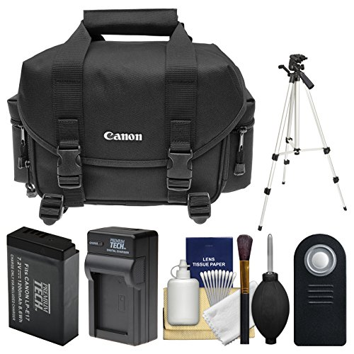 Canon 2400 Digital SLR Camera Case - Gadget Bag with LP-E17 Battery & Charger + Tripod + Remote + Kit for Rebel T6s, T6i, T7i, EOS 77D by Canon