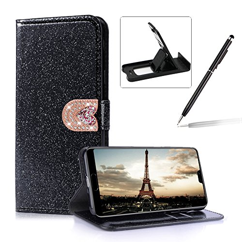 Inner Case Huawei Purple Lite Closure Protective for Heart Wallet Leather Lite Soft Premium Huawei Case Stylish Cover Case P20 for P20 Rubber with Flip Stand Color Glitter 5 Solid Herzzer Love Magnetic Bling qtAPF
