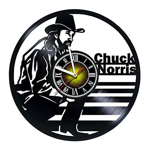 Chuck Norris - Texas Ranger - Walker - Handmade Vinyl Record Wall Clock - Gift idea for birthday, christmas, women, men, friends, girlfriend boyfriend and teens - living kids room nursery