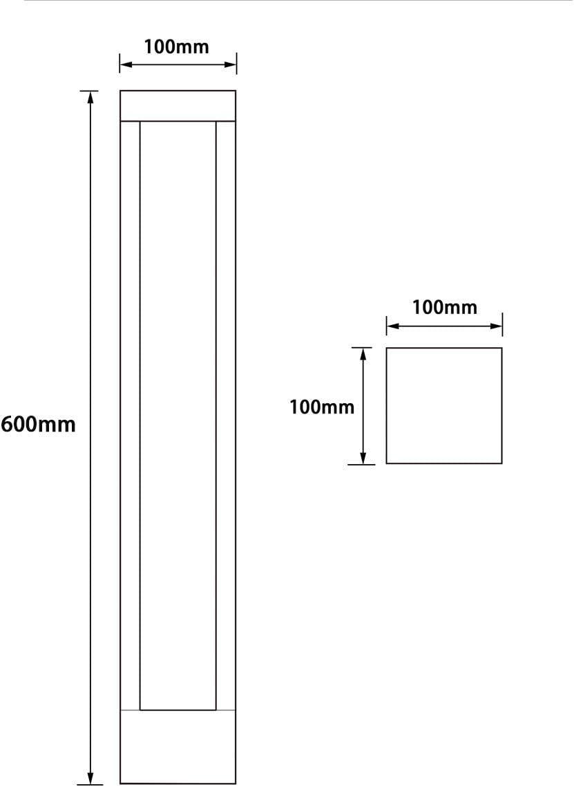 LED Wegeleuchte für den Aussenbereich 230V AC 12W warmweißes Licht 60cm hoch Gartenleuchte, Standleuchte, Pollerleuchte Quaderform