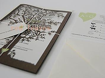 Amazon tree shape design wedding invitation card kit green tree shape design wedding invitation card kit green with ribbon 50 pcs color black stopboris Image collections