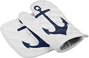 LBFUN Kitchen Oven Mitts and Pot Holders, Nautical Anchor Kitchen Oven Gloves Hot Pads Set for Kitchen BBQ Cooking Baking Grilling,Heat Resistance Non-Slip,Navy Blue and White