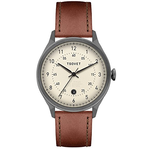 Tsovet-SVT-RM40-Analog-Quartz-GunmetalCream-w-BlackDrk-Brown-Watch