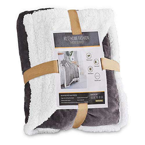 "Throw Blanket, Fleece Blanket, Fuzzy Blanket, Plush Blanket, Throw Blanket for Bed, Get Well Gifts for Women, Birthday Gifts for Women, Sherpa Blanket, Couch Blanket, (50"" X 60"" Throw, Light Grey)"