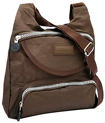 Ladies Crushed Nylon Cross Body Bag by Hawkins Collection Zip and Pocket Brown