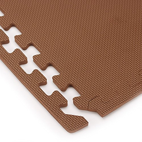 We Sell Mats Foam Interlocking Anti-Fatigue Exercise Gym Floor Square Trade Show Tiles (Brown, 16 SQ FT (4 Tiles + Borders)) by We Sell Mats (Image #4)