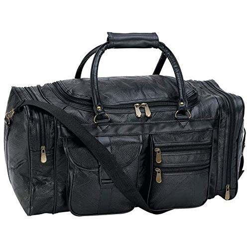 21'' Black Pebble Grain Leather Duffle Tote Bag- Gym Carry On Mens Luggage