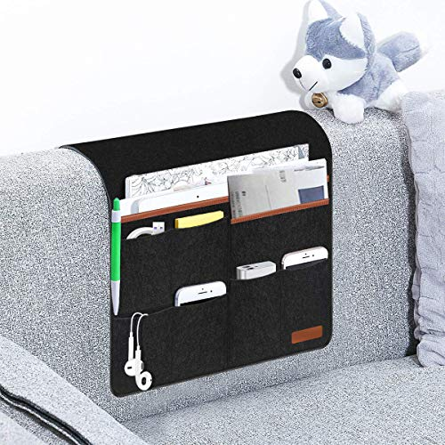 Worker Ant X Non-Slip Sofa Couch Chair Armrest Pocket Organizer Hanging Storage Bedside Caddy Organizer for Tablet,Smart Phone,Book,Glasses,Magazines,Ipad,TV Remote Control Holder (Black)