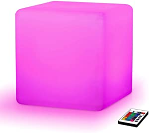 Paddia Stylish Popular Rechargeable Outdoor Remote Changing LED Cube Stool Floor Lamp Waterproof Light Up Seat/Side Table/Furniture 16 RGB Colour Mood Light For Garden Bar Pool Wedding Party