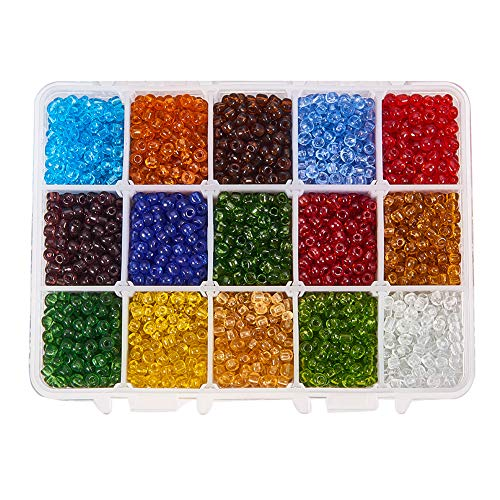 PH PandaHall 3300pcs 15 Color 6/0 Transparent Glass Seed Beads 4mm Seed Beads with Container Box for Jewelry Making ()