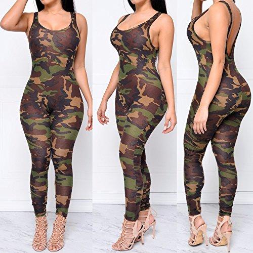 NEW Mesdames combinaison sans manches imprimé Militaire Motif camouflage armée pour body Club Wear Vêtements Taille M UK 10–12–EU 38–40