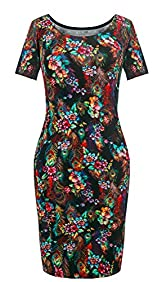 Heloise Fashion Women's Short Sleeve Scoop Neckline Slim Fit Floral Summer Dress