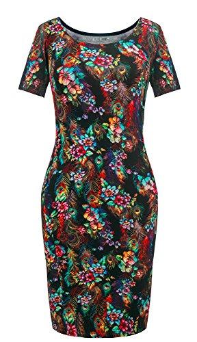 Fashion fleuri moulante courtes avec Robe col d't Noir Heloise manches rond motif et pqwFaFd