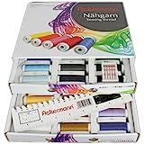 Ackermann Universal 120 Set de fils à coudre universels livrés dans une boîte pratique 36 couleurs Bobines de 200 m Fil synthétique