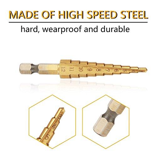 ステップドリルビット、1個の高速度鋼ステップコーンドリルビット穴カッター六角シャンクチタンメッキドリル、耐摩耗性と耐久性(3-12mm)