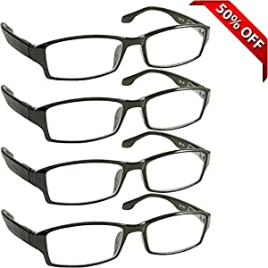 Reading Glasses _ Best 4 Pack for Men and Women _ Have a Stylish Look and Crystal Clear Vision When You Need It! _ Comfort Spring Arms & Dura-Tight Screws _ 100% Guarantee +1.25