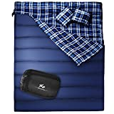"Huge Double Sleeping Bag, Flannel, Queen Size XL 86.6""x59"" with 2 Pillows and Compression Bag, Waterproof, lightweight, Great for Backpacking, Camping, Hiking"