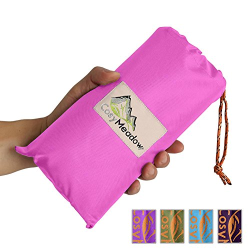 CosyMeadow Outdoor Festival Beach Blanket – Best Pink Picnic Parade Music Carnival Travel Vacation Mat | Packable Waterproof Sand Proof | Large Foldable Queen Size | Compact Lightweight +4 Stakes