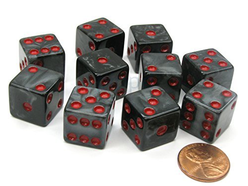 (Set of 10 D6 16mm Marbleized Square Corner Dice - Charcoal with Red Pips )