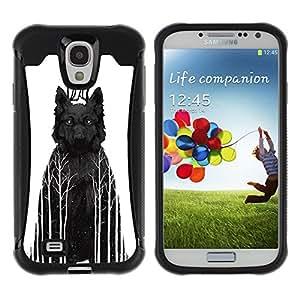 ZAKO Cases / Samsung Galaxy S4 I9500 / Black Wolf In Woods / Robusto Prueba de choques Caso Billetera cubierta Shell Armor Funda Case Cover Slim Armor