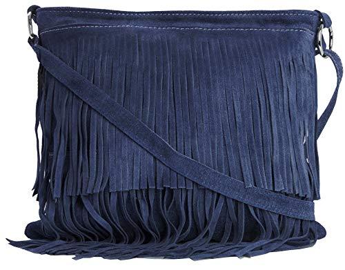 Bolso Big Handbag Shop para mujer, pequeño, de ante, con flecos, color Azul, talla Talla única