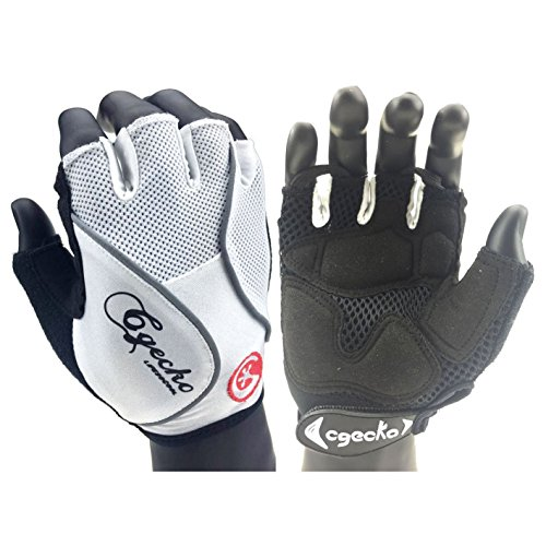 Cgecko Special Wicking Shockproof Mountain Reflex Gel Bike Half Finger Glove Tri-color Optional Outdoor Sports Gloves Cycling Short Glove (White, Medium) (Cycling Gloves Attack)