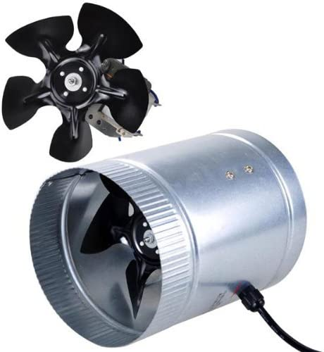 6 Inch 260 CFM Inline Duct Booster Vent Fan Blower Aluminum Blade Lightweight Power Cord US Standard for Indoor Home Grow Light Tent Room