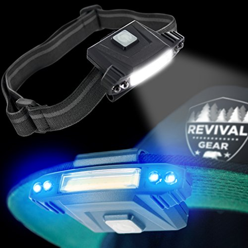 Hat Light Rechargeable LED Headlamp : Best Head Lamp Clip On Flashlight Torch With Brightest Lumens Lights For Running Camping Cycling & Work. Bright UV Blue & White Headlight Bulb With USB Charger by Revival Gear