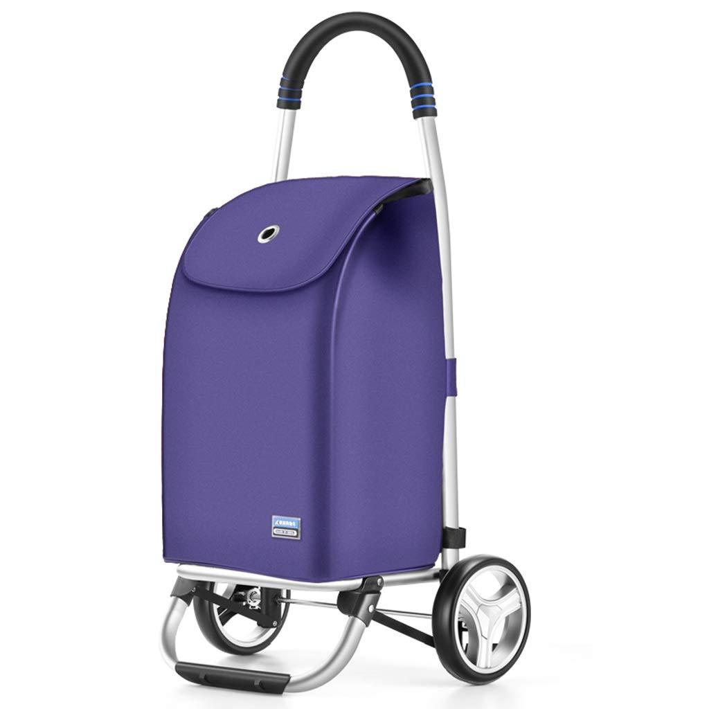 ショッピングキャリー ショッピングカート食品カートを買う老人商品折りたたみ式トレーラートロリートロリーを引っ張る小型カート防雨100kgベアリング ショッピングバッグ (Color : Purple, Size : 32*38*91cm) 32*38*91cm Purple B07PR1TFVJ