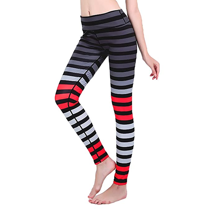 Mxssi pantalón de Yoga con Estampado de Rayas de Mujer ...