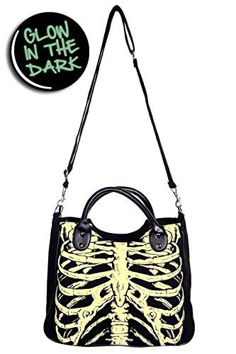 Banned Skeleton-Glow In The Dark-Borsa a tracolla nero