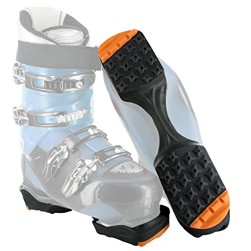 Yaktrax SkiTrax Ski Boot Tracks Traction and Protection Cleats (Pair), Black/Orange, Medium