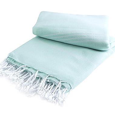 Pestemal Blanket Throw Turkish Striped Beach Towel Picnic Home Bed 59x79 TM by Cacala AquaMarine