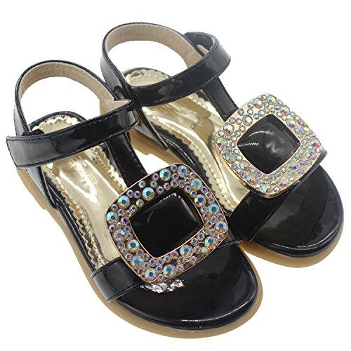 Oasap Girl's Open Toe Rhinestone Velcro Low Heels Sandals, Black 26