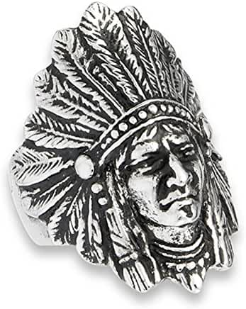 Native American Feather Headdress Indian Ring Stainless Steel Band Sizes 8-15